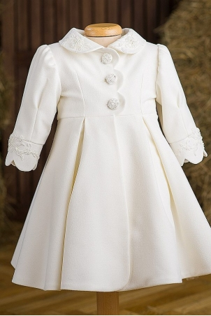 Kate - Little girl elegant coat, decorated with embroidered lace