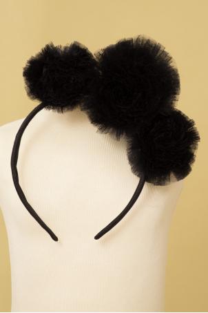 Black Snowballs - Baby girl headband