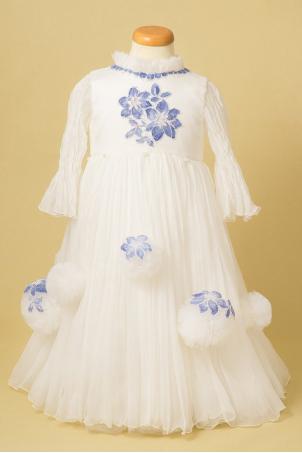 Flower Snowballs - Girl silk party dress