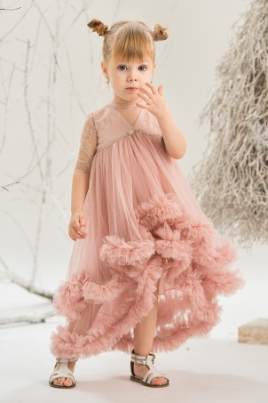 Pink Chantilly - Girl dress with train and silk lace