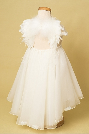 Angel - Silk organza dress with train and angel wings