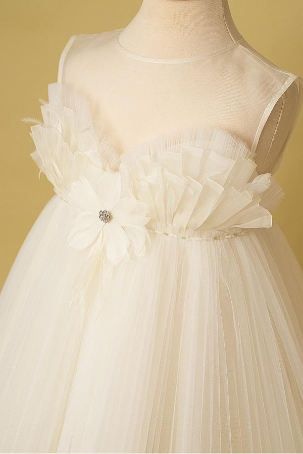 Flower Dove Silk Organza Elegant Girl Dress With Train
