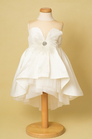 Vintage Dress - Elegant dress with heart-shaped neckline and feathers