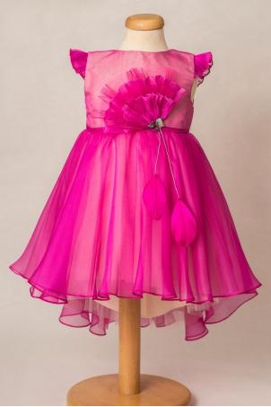 Fuchsia Bird - Special occasion train dress for girls
