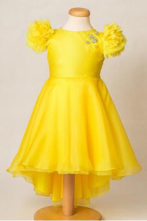 Tropical Sun - Sunny yellow Silk organza party dress for girls