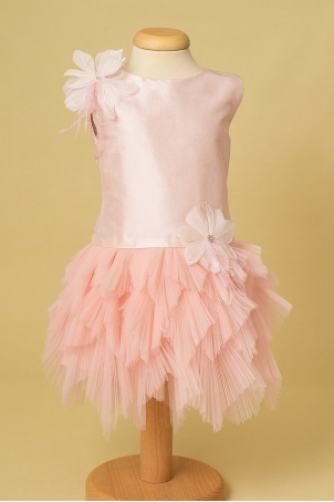 Pink Forest - Girl dress with pleated tulle leafs and handcrafted feather flowers