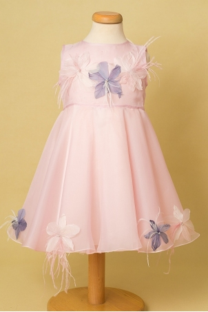 Hawaiian Flowers - Silk organza dress decorated with handcrafted feather flowers