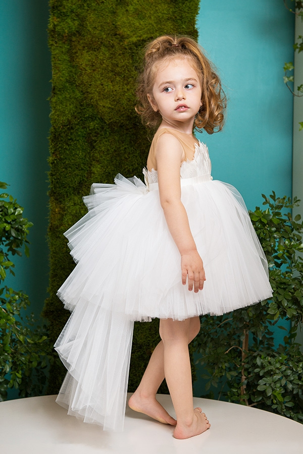 White Dove Tutu Dress Feathers And Detachable Train