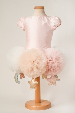 Carousel - Special Occasion Silk Dress With Oversized Pom-Poms