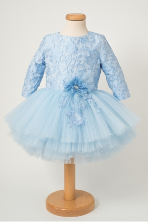 Luna - Brocade Party Dress with Handcrafted Flower Decorations