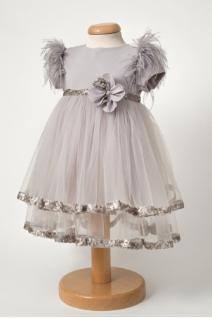 Silver Rose - Party dress with ostrich feathers and sequins