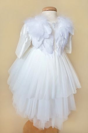 Ivory SIlver Angel - beautiful angel dress with feather wings