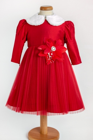 Red Flower - Elegant dress with pleated tulle and feather decoration