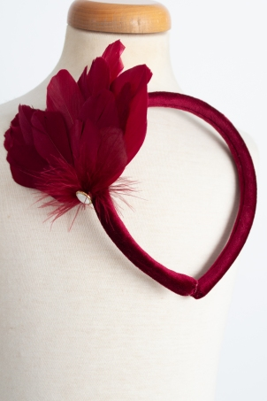 Charlotte - Delicate girl headband with feathers and  rhinestones