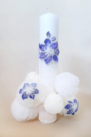 Flower Snowballs Trousseau -  Christening Candle with handcrafted delicate tulle snowballs