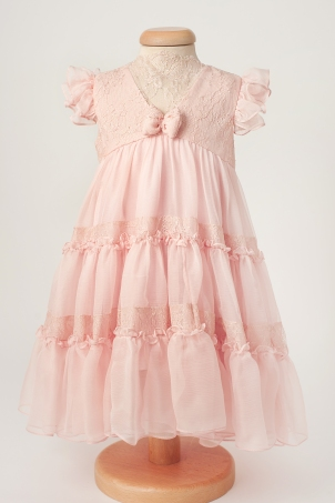 Amalia - Delicate dress from silk chiffon and Chantilly lace