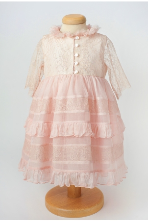 Blush Peach - Delicate dress made from silk veil and silk lace dress