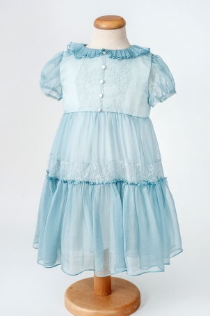Emma - Silk veil dress for Baptism and special occasion