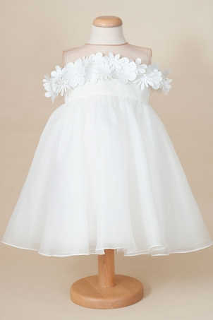 Amani -  Elegant tutu dress made of silk organza and delicate flowers