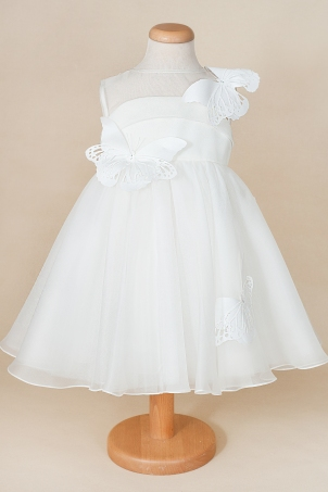 Faith -  Delicate dress made of silk organza, decorated with butterflies