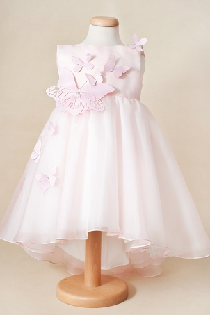 Pink Blush -  Delicate dress with train, silk organza and decorated with butterflies