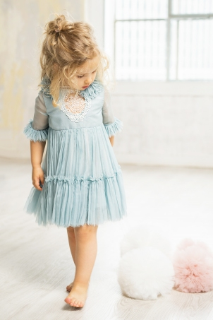 Tiffany - Special ocassion dress for girls in raw hemline silk chiffon