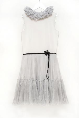 """""""Silver Goddess"""" - Soft elegant silk dress for girls"""