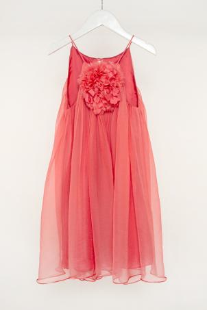 """""""Coral Rose"""" - Soft elegant silk dress for girls"""