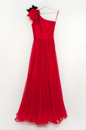 """Red Rose"" - Elegant red dress for girls with handcrafted flower"