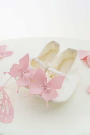 Paloma silk booties for baby girls