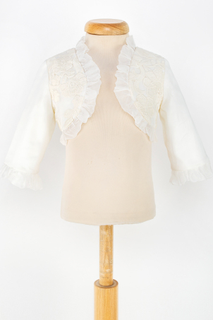Grace - Elegant Girl Bolero, made of Silk and Cotoon Lace on ivory color