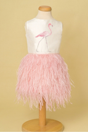 Pink Flamingo - Ostrich feathers special occasion girl dress OUTLET