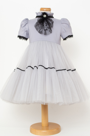 Katherine - Special ocassion girl dress with Chantilly lace jabot