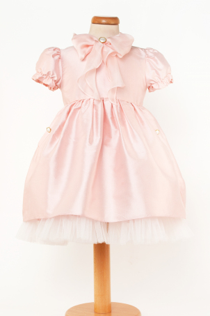 Judith - Shantung silk delicate dress with a soft silk bow