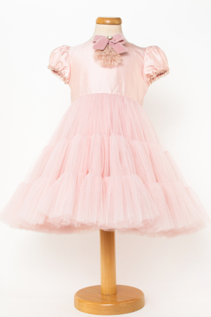 Pink Sarah - Delicate pink tutu dress decorated with a lace and velvet jabot