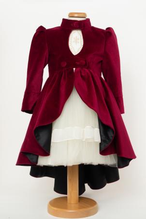 Royal - Elegant velvet coat for girls with train