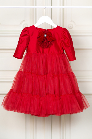 Red Sarah - Delicate red tutu dress decorated with a lace and velvet jabot