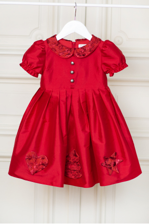 Gingerbread - Red Christmas dress with delicate winter themed applications