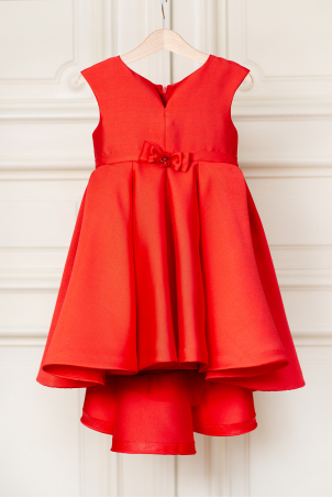 Lavinia - Elegant red party dress with trail