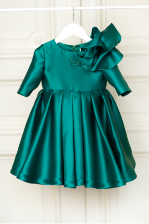 Emerald - Special Occasion taffeta dress with an oversized flower