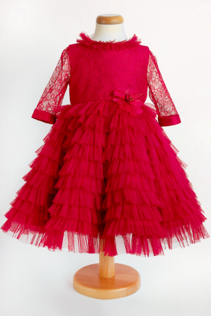 Pretty Scarlet - Special occasion dress made of silk lace and tulle ruffles