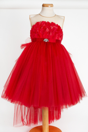 Red Dove - Tutu dress feathers and detachable train