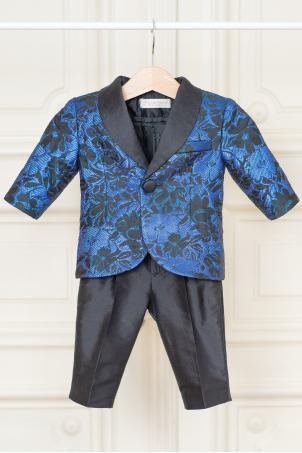 Chasing Sapphires - elegant baby boy blue floral jacquard suit