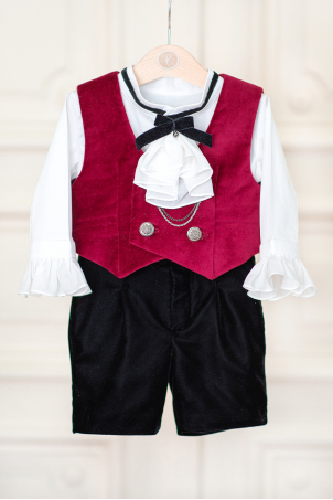 Byron - Vintage baby boy velvet suit with jabot and waistcoat