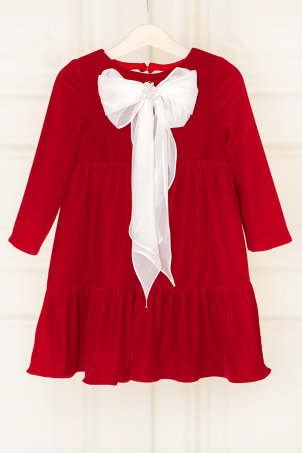 Emily Red - Special Occasion dress made from soft velvet and decorated with a silk veil bow