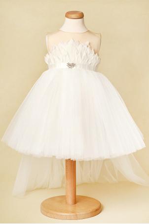 White Dove - Tutu dress feathers and detachable train