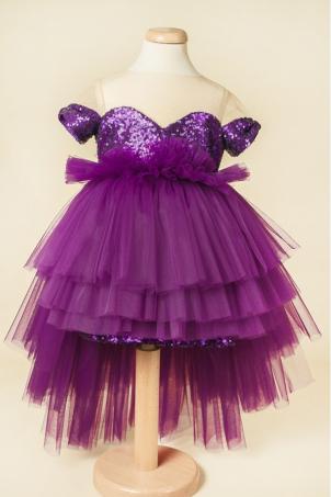 Purple Star - Girl sequins tutu dress
