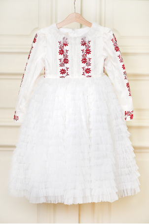 Tatiana - Silk shantung dress with ruffles, and embroidery