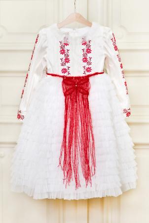 Tatiana - Silk shantung dress with ruffles, and embroidery