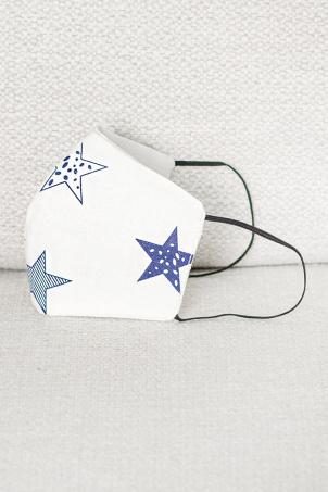 Masca de protectie copii si adulti BLUE STARS, reutilizabila, din bumbac, 3 straturi